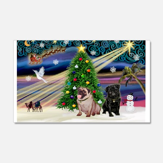 X Mas Magic & Pug Pair 22x14 Wall Peel