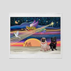 Xmas Star & 2 Pugs (P2) Throw Blanket