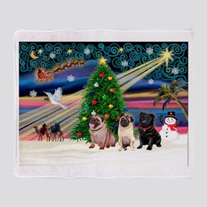 Xmas Magic & 3 Pugs 1b,2f Throw Blanket