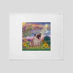 Cloud Angel & Fawn Pug Throw Blanket