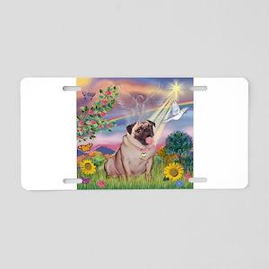 Cloud Angel & Fawn Pug Aluminum License Plate