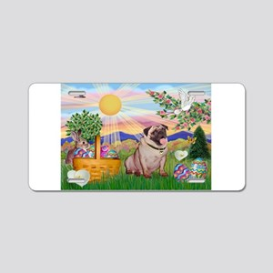 Easter Pug Aluminum License Plate