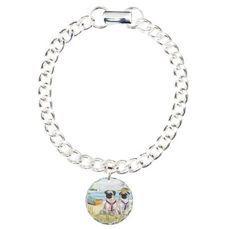 Rowboat / Two Fawn Pugs Charm Bracelet, One Charm