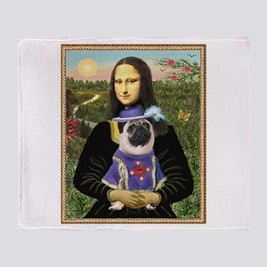 Mona Lisa & Sir Pug Throw Blanket