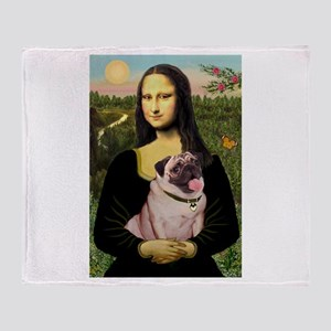 Mona Lisa Fawn Pug Throw Blanket