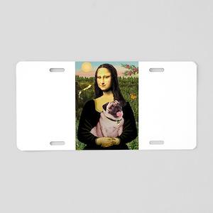 Mona Lisa Fawn Pug Aluminum License Plate