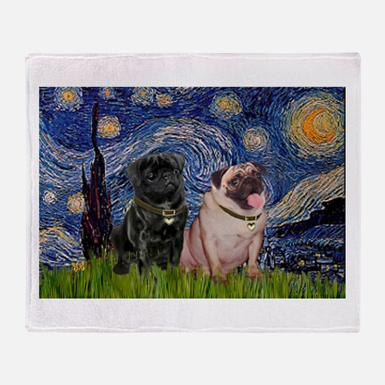 Starry Night Pug Pair Throw Blanket