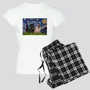 Starry Night Pug Pair Women's Light Pajamas