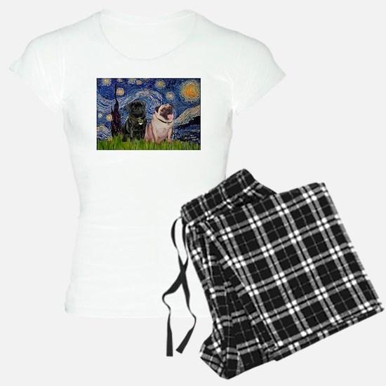 Starry Night Pug Pair Pajamas