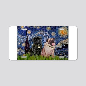 Starry Night Pug Pair Aluminum License Plate