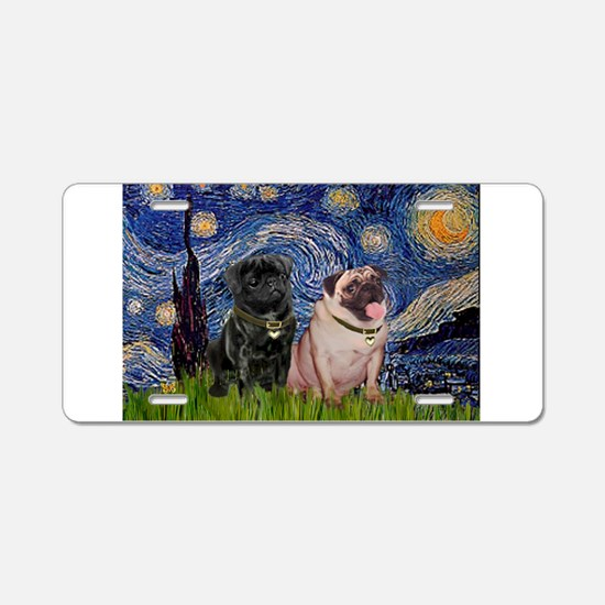 Starry Night Pug Pair Aluminum License Plate