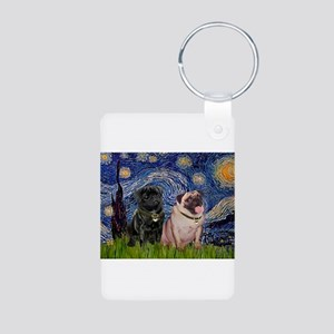 Starry Night Pug Pair Aluminum Photo Keychain