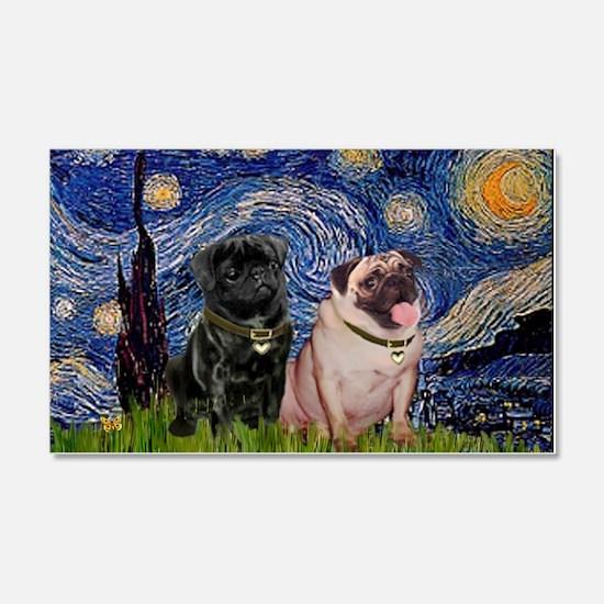 Starry Night Pug Pair 22x14 Wall Peel