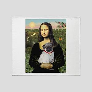 Mona's Fawn Pug Throw Blanket