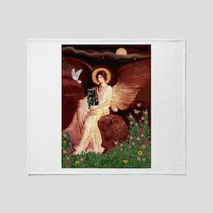 Seated Angel /Pug (blk) Throw Blanket