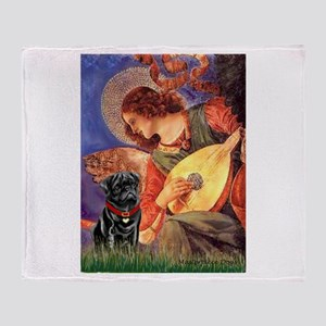 Angel #3) / Black Pug Throw Blanket