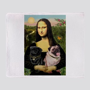 Mona & her 2 Pugs Throw Blanket