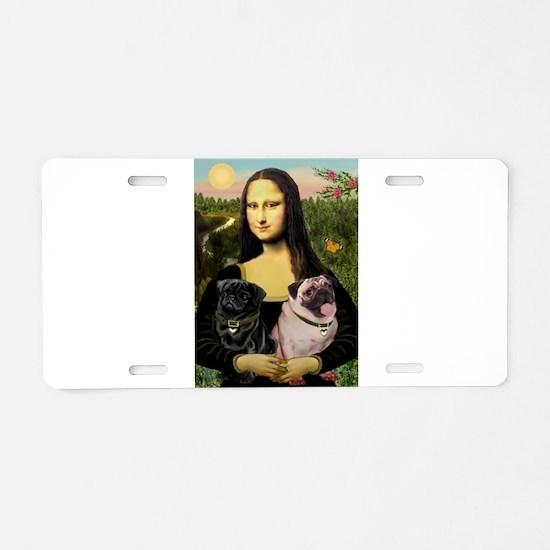 Mona & her 2 Pugs Aluminum License Plate