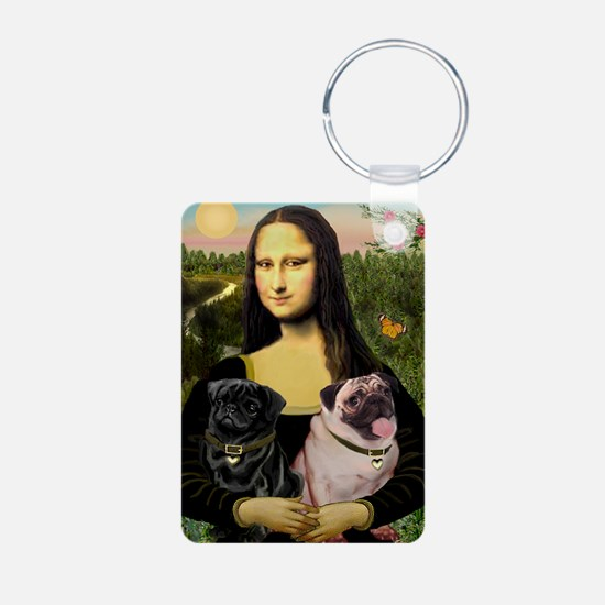 Mona & her 2 Pugs Keychains