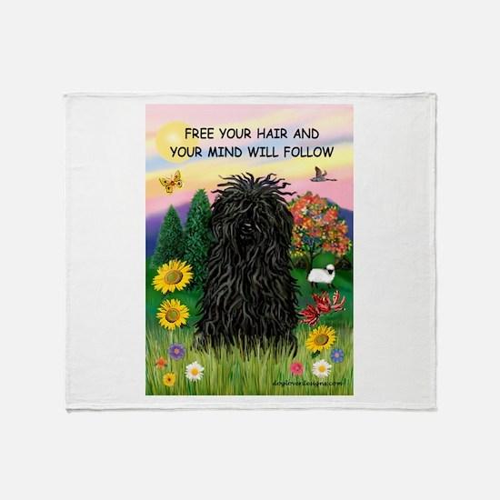 Free Your Hair.....Puli Throw Blanket