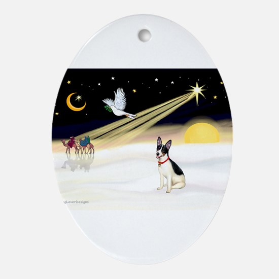 XmasDove/Rat Terrier 1 Ornament (Oval)