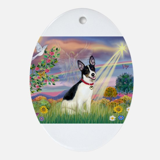 Cloud Angel & Rat Terrier Ornament (Oval)