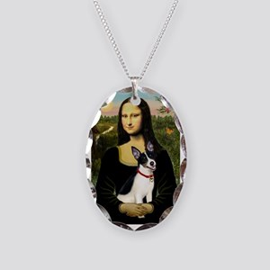 Mona & Rat Terrier Necklace Oval Charm
