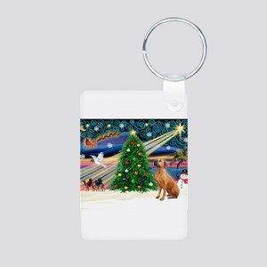 XmasMagic/Rhodesian RB Aluminum Photo Keychain