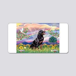 Cloud Angel & Rottweiler Aluminum License Plat