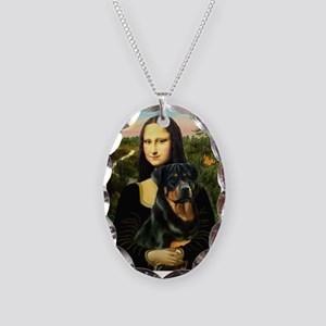 Mona Lisa & Rottie Necklace Oval Charm