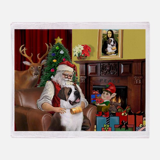 Santa's Saint Bernard Throw Blanket