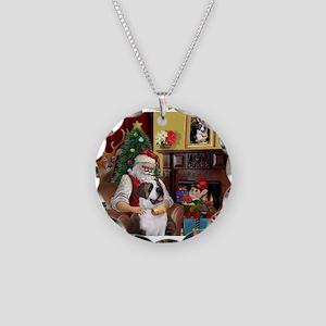 Santa's Saint Bernard Necklace Circle Charm