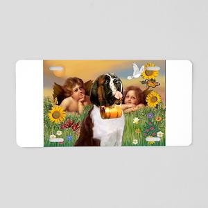 Two Angels & Saint Bernard Aluminum License Pl