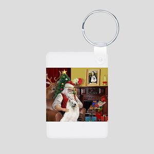 Santa's Samoyed Aluminum Photo Keychain