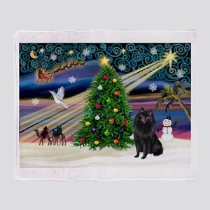 Xmas Magic Schipperke Throw Blanket