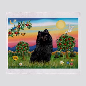 Schipperke in bright country. Throw Blanket