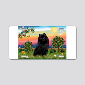 Schipperke in bright country. Aluminum License Pla
