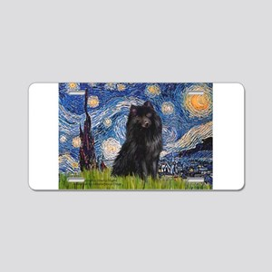 Starry Night Schipperke Aluminum License Plate