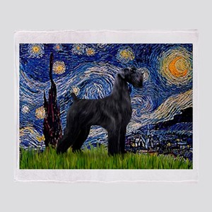 Starry Night Schnauzer Throw Blanket
