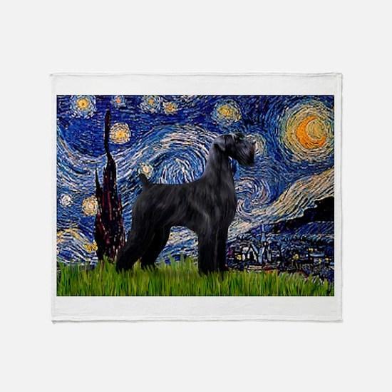 Starry Night Schnauzer Throw Blanket