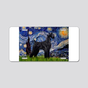 Starry Night Schnauzer Aluminum License Plate