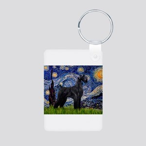 Starry Night Schnauzer Aluminum Photo Keychain