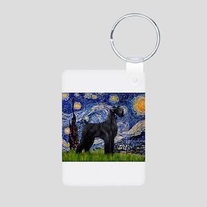 Starry Night Schnauzer Aluminum Photo Keychain