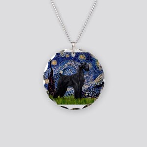 Starry Night Schnauzer Necklace Circle Charm