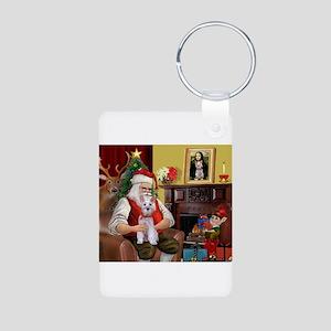 Santa's Schnauzer (9) Aluminum Photo Keychain