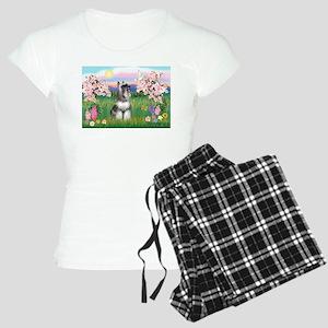 Blossoms / Min Schnauzer Women's Light Pajamas