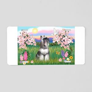 Blossoms / Min Schnauzer Aluminum License Plate