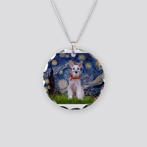 Starry Night Schnauzer Necklace Circle Charm