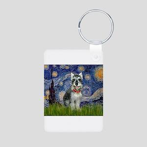 Starry Night & Schnauzer Aluminum Photo Keycha