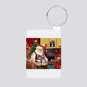 Santa's 2 Schnauzers Aluminum Photo Keychain
